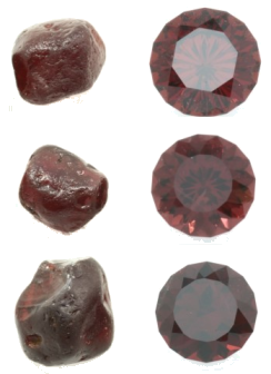 Malawi garnet rough and resulting faceted gems